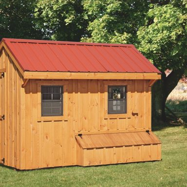 prefab chicken coops natural stain front View