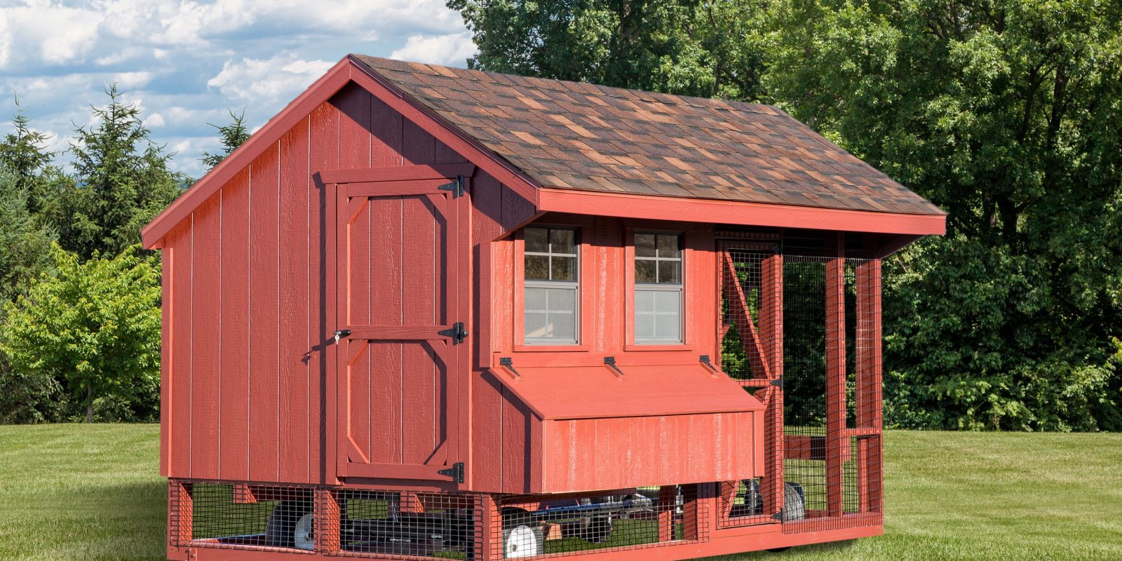 A wooden chicken coop for raising backyard chickens