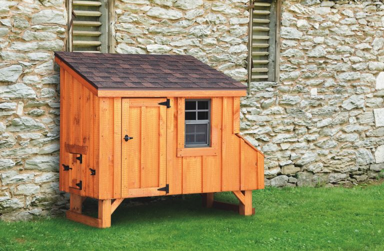 back yard chicken coops Cedar Stain L35 Front View