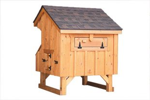 prefab chicken coops Natural Stain Q34 Back View