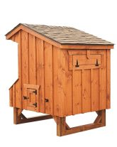 prefab chicken coops Cedar Stain Q44 Back View