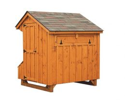 prefab chicken coops Cedar Stain Q46H Back View