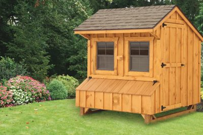 prefab chicken coops Brown Cedar Stain Q56 Front View