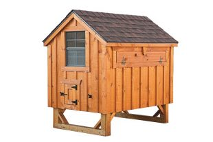 a frame chicken coop Cedar Stain A46 Front View