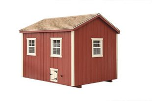 a frame chicken coop Red A80 With Optional Painted Doors Back View 1