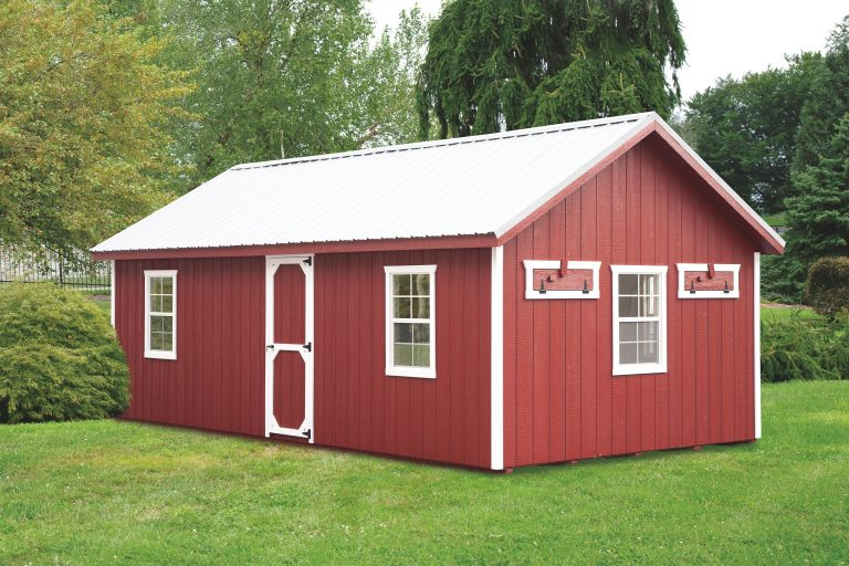 a frame chicken coop Red A124 With Optional Metal Roof Front View