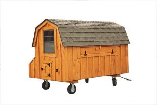 barn style chicken coops Cedar Stain D48 Back View With Optional Wheels and Handle