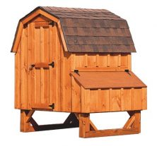 barn style chicken coops Cedar Stain D44 Front View