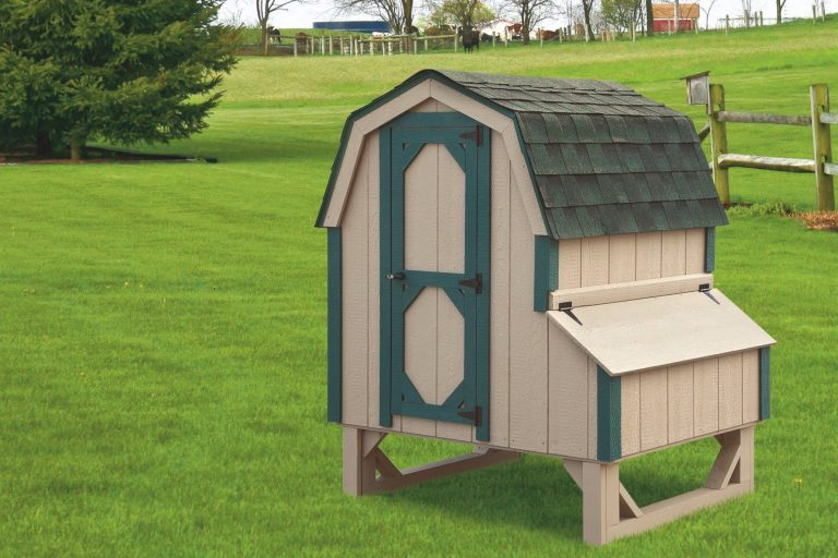 "barn style chicken coops 4x4 Dutch With Duratemp® siding 78"" high 14"" off ground 4 nesting boxes Buckskin siding with green trim Forest green shingles"
