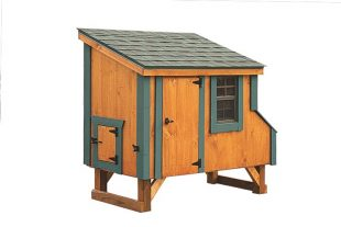 small chicken coops Cedar Stain L35 With Optional Green Trim Front View 1
