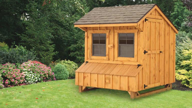 wooden chicken coops Brown Cedar Stain Q56 Front View