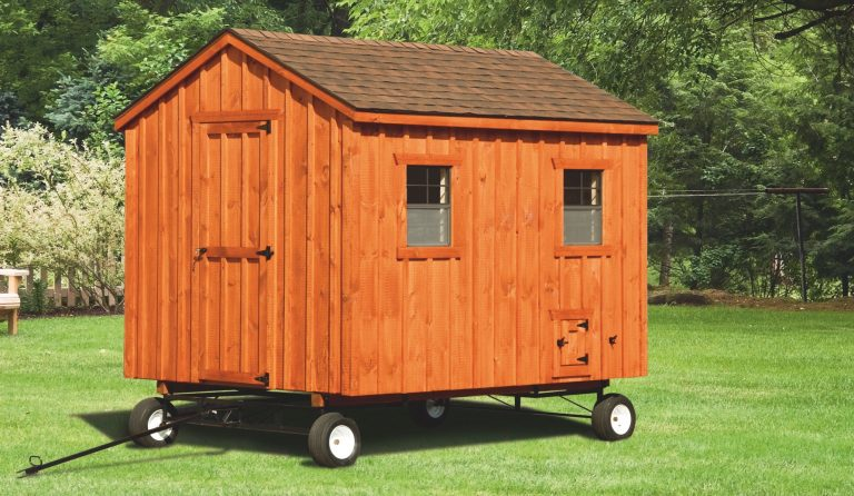 portable chicken coops on wheels 8x10 A Frame With board and batten siding 1